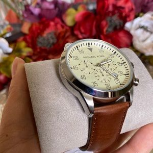 Michael Kors men's leather strap watch 45MM